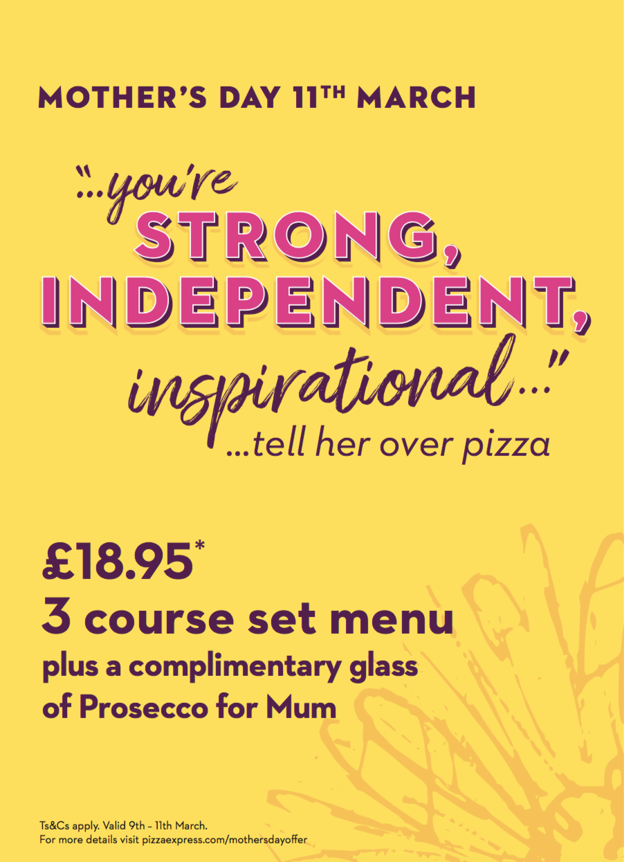 pizza express mothers day flyer