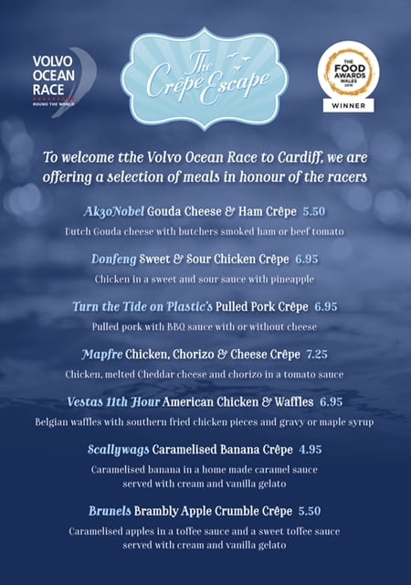 The Crepe Escape - Volvo Ocean Race Menu